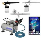 Master Airbrush Brand Multi-purpose Professional Airbrushing System with 3 Airbrushes, G22 Gravity Feed, S68 Syphon Feed & E91 All Purpose Airbrushes, Airbrush Compressor, 6' Air Hose & Airbrush Holder All with Our 1 Year Warranty and Now Includes a (F ..