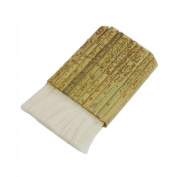 Amico 7.6cm Width Flat Khaki Bamboo Handle Grip White Faux Wool Painting Paint Brush