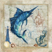 Nautical Swordfish Beautiful Awesome Swordfish Seashell Lovely Quality Anchor Antique Poster 12X12