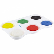 Sax Non-Toxic Giant Tempera Paint Cakes with Tray - 5.7cm x 1.9cm - Set of 6 - Assorted Colours