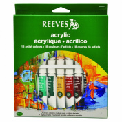Reeves 18-Pack Acrylic Colour Tube Set, 10ml