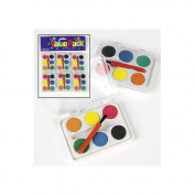 Dozen Mini Kids Watercolour Paint Sets with Brush
