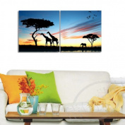2 pieces Large Modern Abstract Art Painting Wall Decals canvas ?no frame?The setting sun and the giraffe