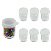 6pc Clear Acrylic Bead Jars Containers - Spill-Proof Snap-on Tops