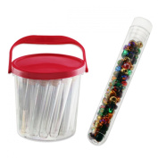 24pc Clear Acrylic Bead Tubes with Container - 6 Gramme - 10mm Diameter