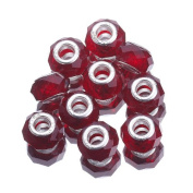 EOZY 20pcs Deep Red 9*14mm Faceted Crystal Double Cores Bling Faceted Crystal Glass Jewellery Silver Plated Murano European Spacer Loose Beads for Bracelet Necklace
