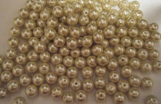 """Glass Pearl Beads 10mm - 36"""" - 3 Ft Champaign Gold"""