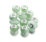 EOZY 20pcs Green 9*14mm Cat's Eye Stone Double Cores Jewellery Murano European Spacer Loose Beads for Bracelet Necklace