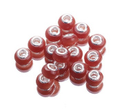 EOZY 20pcs Orange Red 9*14mm Cat's Eye Stone Double Cores Jewellery Murano European Spacer Loose Beads for Bracelet Necklace