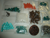 turquoise coral copper sea glass jewellery making bead lot