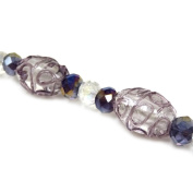 Fiona 18cm Oval Lampwork Glass Bead Strand, Purple