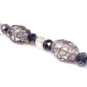 Fiona 18cm Oval Lampwork Glass Bead Strand, Purple