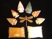 Gemstone Indian Arrowhead Bronze Dragonfly Amber Sea Glass Beads Kit Lot