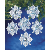Holiday Beaded Ornament Kit-Filagree Snowflake 2.5cm - 1.9cm Makes 12