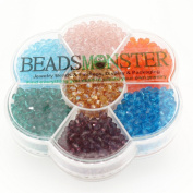 Crystal Glass Beads, Bicone, 4x4mm, 1mm Hole, 7 Colours Set 06