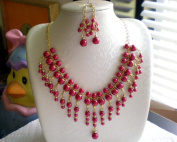 100% Handcrafted Luxury Necklace & Earring Set w/Glass Pearl Drops