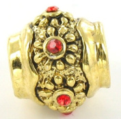 Quiges Beads Charms Gold Plated Charm Bead with Red CZ for Pandora/Troll/Chamilia/European Beads