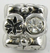 Quiges Beads Charms Silver Plated Stopper with CZ Charm Bead for Pandora/Troll/Chamilia/European Beads