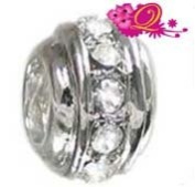 Quiges Beads Charms Silver Plated Charm Bead with CZ for Pandora/Troll/Chamilia/European Beads