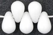 100 Opaque White Czech Glass Teardrop Beads Tear drops 6MM