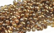 100 Trans Gold Czech Glass Teardrop Beads Tear drops 6MM