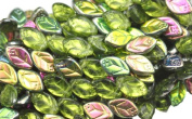 25 Olivine Vitral Czech Glass Leaf Beads Side Drilled 12MM