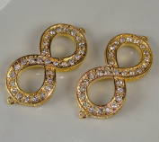 Sideways Infinity Rhinestone Bracelet Bar Gold with Crystal 2pc 5.1cm