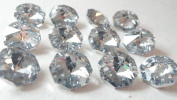14mm Silver Octagon Chandelier Crystals Prism Beads Pack of 12