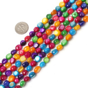 "7-8mm freeform multicolor MOP shell beads strand 34""jewellery making beads"