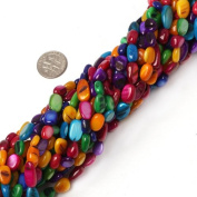 """7-8mm freeform multicolor MOP shell beads strand 34""""jewellery making beads"""