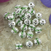 20 6mm silver plated rhinestone band round beads Green