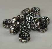 7mm Rhinestone Disc Beads Silver 36pcs