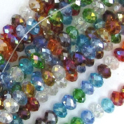 """4x6mm faceted crystal rondelle beads 11"""" multicolor"""