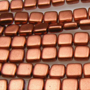 Czechmate 6mm Square Glass Czech Two Hole Tile Bead - Matte Metallic Copper
