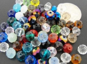 Mixed Colour Faceted Rondelle Crystal Glass Beads 6x8mm 50pcs