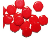 Red Flat Hexagon Czech Pressed Glass Beads
