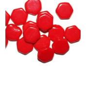 Red Flat Hexagon Czech Pressed Glass Beads