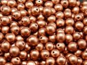 50 pcs Czech Glass Pressed Beads Druk Round 6 mm Crystal Bronze Vintage Copper