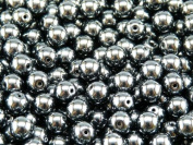 50 pcs Czech Glass Pressed Beads Druk Round 6 mm Jet Hematite