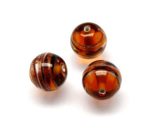 1pc Czech Glass Lampwork Beads Round 10 mm Topas decorated black , aventurine and white stripes