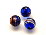 1pc Czech Glass Lampwork Beads Round 12 mm Sapphire decorated black , aventurine and white stripes