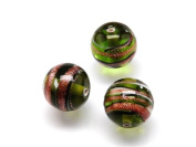 1pc Czech Glass Lampwork Beads Round 10 mm Olivine decorated black , aventurine and white stripes