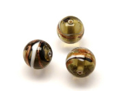 1pc Czech Glass Lampwork Beads Round 10 mm Smoke Grey decorated black , aventurine and white stripes