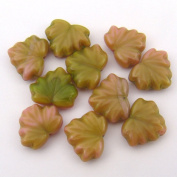Opaque Pink and Green Czech Glass Maple Leaf Beads 13mm, 10 Pcs