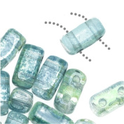 CzechMates Glass 2-Hole Rectangle Brick Beads 6x3mm - Dual Lustered Blue / Green