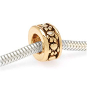 22K Gold Plated Paw Print Pattern Spacer - European Style Large Hole Bead