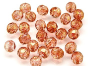 25pcs Czech Fire-Polished Faceted Glass Beads Round 8mm Crystal Speckled Red Lustre