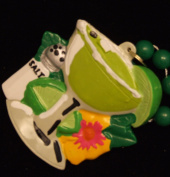Margarita Glass Salt Shaker Luau Party Mardi Gras Bead