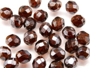25pcs Czech Fire-Polished Faceted Glass Beads Round 8mm Brown Hematite Lustre