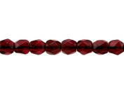 100 pcs Czech Fire-Polished Faceted Glass Beads Round 3mm Dark Ruby